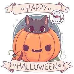 Oh and happy Halloween guys! Unless you're in a time zone where's it's not Halloween anymore I'm def feeling the jet lag right now (in the US on holiday right now ✨) • #halloween #creepycute #cat #blackcat #pumpkin #jackolantern #october #spooky #ghost #cute #kawaii #chibi #instaart #instadaily #instaartist #illustrationoftheday #illustration #digitalart #digitalpainting #doodle #art #drawing