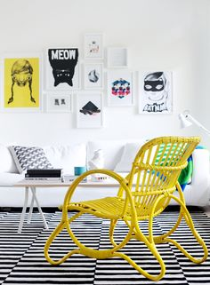 Am liking this awesome mustard yellow chair, the art on the walls and the super stripey floor. It's the kind of deco that I would not have in my home, but then again I never used to like colour. How things change :) Ikea Stockholm Rug, Cane Furniture, Rattan Furniture, Painted Furniture, Furniture Ideas, Furniture Design, Rattan Chairs, Decoupage Furniture, Mirrored Furniture