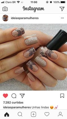 Unhas Shellac Nails, Nude Nails, Nail Manicure, Gorgeous Nails, Pretty Nails, Hair And Nails, My Nails, Hippie Nails, Nail Decorations