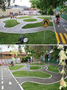 Have a big backyard? Why not Turn a backyard corner into surprising bike tracks.