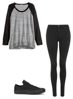 """Untitled #242"" by ilovepenguins604 ❤ liked on Polyvore featuring H&M, Topshop and Converse"