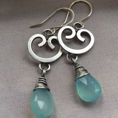 Oxidized Silver Earrings with blue Chalcedony.