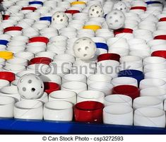 Bouncing Whiffle Balls at Carnival Game Booth - csp3272593