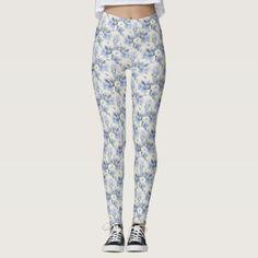 sky Blue floral  Leggings - diy cyo personalize design idea new special