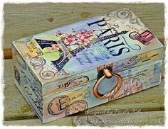 Ephemera's Attic: Alter it ~ Fashionable Stamping Challenges Decoupage Box, Decoupage Vintage, Fabric Painting, Painting On Wood, Tole Painting, Cigar Box Crafts, Altered Cigar Boxes, Painted Wooden Boxes, Country Paintings