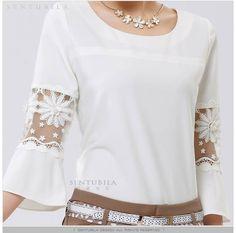 manga tops white lace chiffon blusa