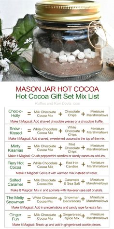 Diy Gifts Cheap, Easy Handmade Gifts, Diy Crafts For Gifts, Jar Crafts, Tree Crafts, Christmas Hot Chocolate, Chocolate Gifts, Mason Jar Gifts, Mason Jar Diy