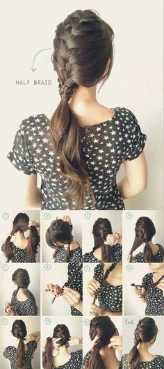 5 One Minute Basic Ponytail Hairstyles Tutorial for Daily Style - half french braided ponytail - ins Ponytail Hairstyles Tutorial, Braided Ponytail Hairstyles, Braided Hairstyles Tutorials, Trendy Hairstyles, Ponytail Tutorial, Hairstyle Ideas, Hairstyles Pictures, Straight Hairstyles, Bride Hairstyles