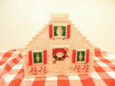 Christmas Plastic Canvas Napkin Holder Kitsch by DottieDigsVintage