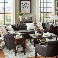 Knightsbridge Tufted Scroll Arm Chesterfield 6-seat L-shaped Sectional by SIGNAL HILLS - Free Shipping Today - Overstock.com - 17632346 - Mobile