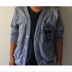 A must have for every child's fall wardrobe. Cardigan is completely unisex.   - Hand stamped on American Apparel grey cardigan.   - Tri-Blend (50% Polyester / 25% Cotton / 25% Rayon) construction. Very soft and comfy.  - Machine wash cold and hang dry.   Please be aware that this item is...