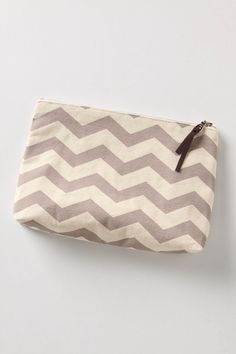 makeup bag inspiration - exposed metal tooth zipper. wider bottom. taller. love the chevron