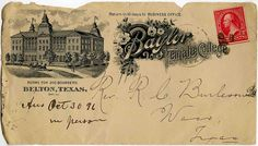This is an 1851 letter by Rufus Burleson to separate the genders at Baylor University. In 1885 Baylor Female College moved from Waco to Belton, Texas. It later became known as the University of Mary Hardin-Baylor.