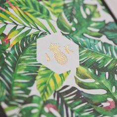 Tropical wedding  invitations - full colour printing + matte gold | Fivestar…