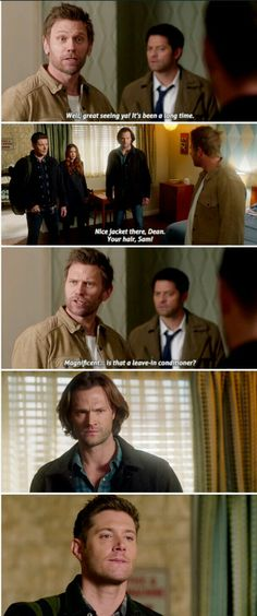 You are watching the movie Supernatural on Putlocker HD. When they were boys, Sam and Dean Winchester lost their mother to a mysterious and demonic supernatural force. John Winchester, Winchester Brothers, Jared Padalecki, Supernatural Jokes, Spn Memes, Supernatural Imagines, Supernatural Wallpaper, Funny Memes, Funny Quotes