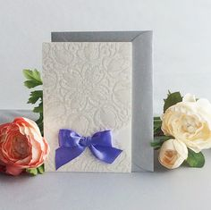 Personalized Pearl Embossing pocket with lavender satin bow, pocket invitation lovely, Romantic Wedding Invitation Free shipping by IvoryInvitations on Etsy