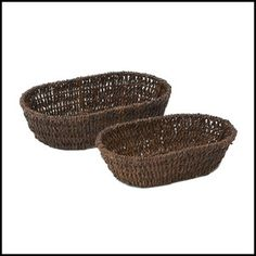 """Our Woven Abaca Basket Set of 2 is perfect for all serving and entertaining needs. The baskets are durable enough for everyday use, yet fashionable for entertaining at parties. Abaca is 100% environmentally friendly.  Handcrafted in the Philippines.  Basket Sizes: 10.5"""" x 7"""" x 3"""" - Small Basket 13"""" x 8"""" x 3.5"""" - Large Basket"""
