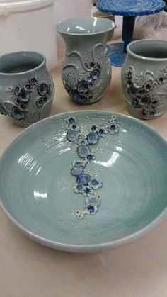Snowdonia blue slate pottery by Helen. Beautiful!
