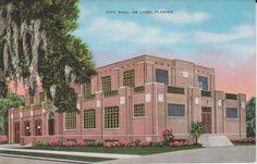 City Hall De Land Florida  Vintage Linen by postcardsofthepast