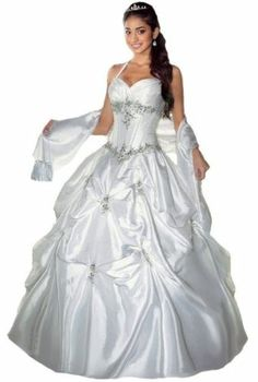 New White Halter Prom Ball Gown Wedding Quinceanera Dress Size:6,8,10,12,14,16