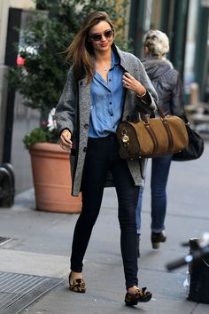 Miranda Kerr Outfit Idea: Layer Slim and Oversize Pieces