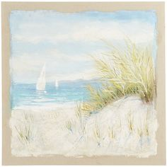 Korean Fashion Hand Painted Oil Painting Landscape Beach Scene with Stretched Frame : 24 Inch Outside Wall Art, Outdoor Wall Art, Colorful Wall Art, Unique Wall Art, Seascape Paintings, Landscape Paintings, Beach Paintings, Art Mural En Plein Air, Art Plage