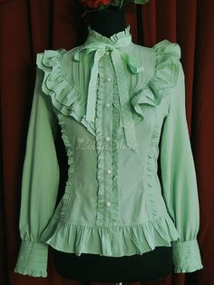 Cheap blouse shirt, Buy Quality shirt blouses directly from China shirt leopard Suppliers: Ladies Light Green Chiffon Stand Collar Long Sleeves Ruffled Lolita Blouse Material: Thick Chiffon Style: One-piece Sl Lolita Fashion, Hijab Fashion, Fashion Dresses, Chiffon Ruffle, Chiffon Shirt, Mode Pro, Mode Alternative, Lolita Mode, Hijab Stile