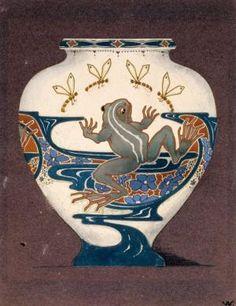 Design for decoration for a vase [Frog and Dragonflies]. V.C. Andreoli, designer, for Rozenburg Ceramics Factory, ca. 1900.