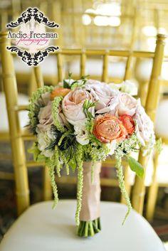 Jessica's Bridal Bouquet!  Jessica + Kris wedding. #coral, #peach, #peachroses, #andieifreemanphotography