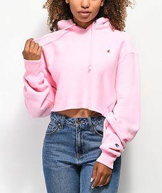 141498b0339 Champion Reverse Weave Pink Crop Hoodie