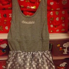 Grey with White Poko Dots Jumper Dress 4-6 yrs S$19.90