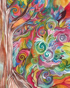 Autumn Tree Original Watercolor by Megan Noel