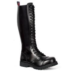 Black Leather 20-eye Combat Boots