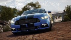 head on Blue 2015 Ford Mustang Black racing stripes