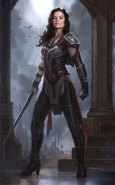 "Concept art of Lady Sif from Marvel's ""Thor: The Dark World"". Marvel Art, Marvel Heroes, Marvel Movies, Marvel Concept Art, Thor Ragnarok Concept Art, Thor Marvel, Fantasy Characters, Female Characters, Cyberpunk"