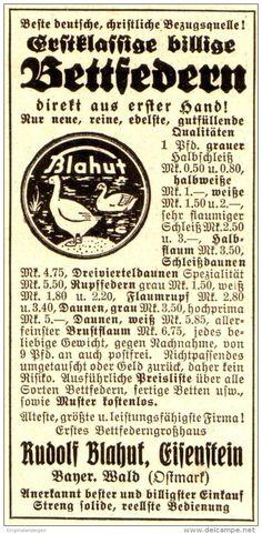 Original-Werbung/ Anzeige 1934 - BETTFEDERN BLAHUT - EISENSTEIN - BAYERISCHER WALD / OSTMARK - ca. 45 x 90 mm