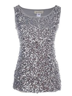 5ee5b153e57d17 Womens Sparkle & Shine Glitter Sequin Embellished Sleeveless Round Neck  Tank Top - Silver - CU11JKK7XET