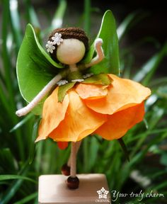 Orange Rose Flower Doll Green Fairy Miniature by OrientalColour, $11.00