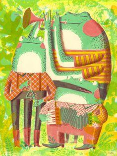 Illustration by JooHee Yoon (via designworklife) #JooHeeYoon #frogs #music