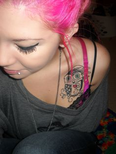 owl tattoo and pink hair