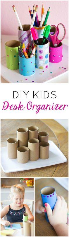 Make this cute desktop organizer from toilet paper rolls. Such a fun kids craft!