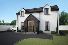 Render of Dwelling in Dublin Road, Antrim - architects in ballymena, county antrim, Northern Ireland House Entrance, Grand Entrance, House With Porch, House Front, Rendered Houses, House Designs Ireland, Two Storey House Plans, Stone Porches, Oak Framed Buildings
