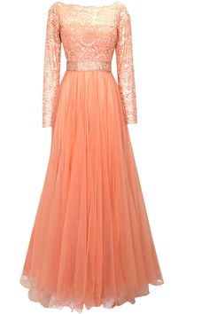 Divani Peach crystal embellished lace gown
