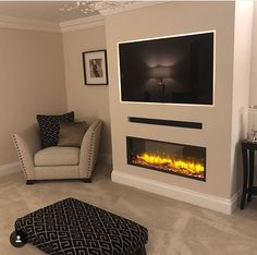 Fireplace Feature Wall, Build A Fireplace, Home Fireplace, Living Room With Fireplace, Fireplace Design, Built In Shelves Living Room, Living Room Wall Units, Home Design Living Room, New Living Room