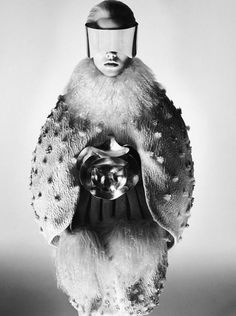 Cocoon Fashion with a sculptural ovoid silhouette & mixed textures; glam futuristic fashion // Alexander McQueen