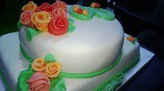 Cakes birthday, green, White, flower, roses, ribbon, torta di compleanno, verde, bianca, con fiori,  rose, e fiocco, pdz, mmf, fondant, pasta di zucchero