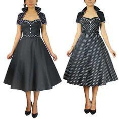Chic Star Polka Dot Bolero Dress Rockabilly Retro Pin Up Swing 50s Dresses, Pretty Dresses, Dresses Online, Vintage Inspired Dresses, Vintage Dresses, Fashion 2020, Retro Fashion, Melbourne Cup Fashion, Princess Style