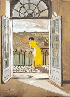Yves BRAYER (1907-1990) Femme en jaune à sa fenêtre, Cordes