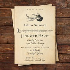 Harry Potter Bridal Shower Invitation, Harry Potter Baby Shower Invitation, Harry Potter Book Page Invitation, Custom, Printable