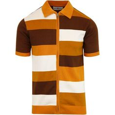 Madcap England men's mod style zip polo cardigan in buckthorn brown. Mens mod & retro clothing from Madcap England. Vintage Hawaiian Shirts, Vintage Shirts, Vintage Men, Fashion Vintage, Retro Men, 1960 Mens Fashion, Mens Retro Shirts, Gangster Style, Scrappy Quilts
